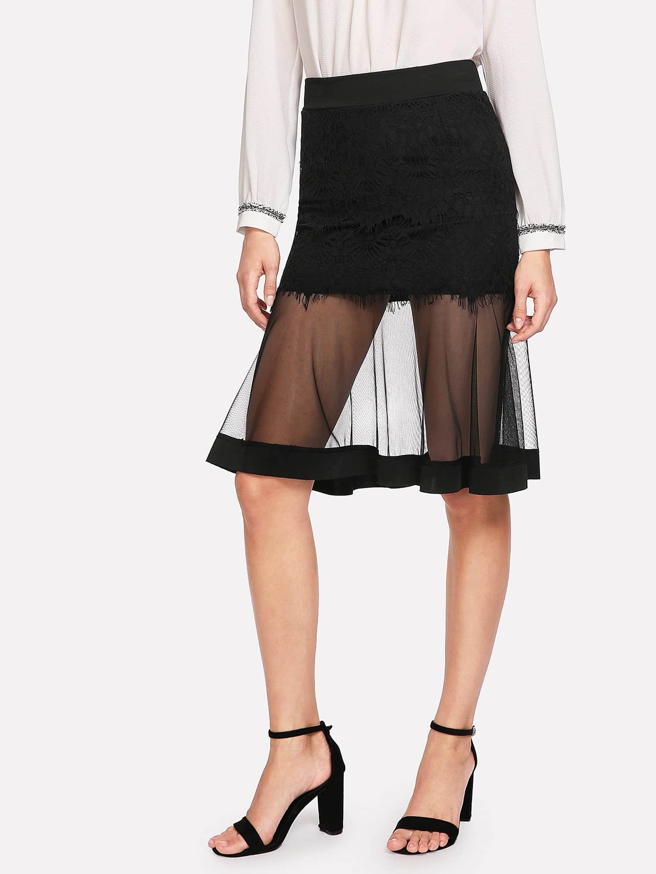 Lace Panel Sheer Mesh Skirt sheer mesh panel colorblock legging