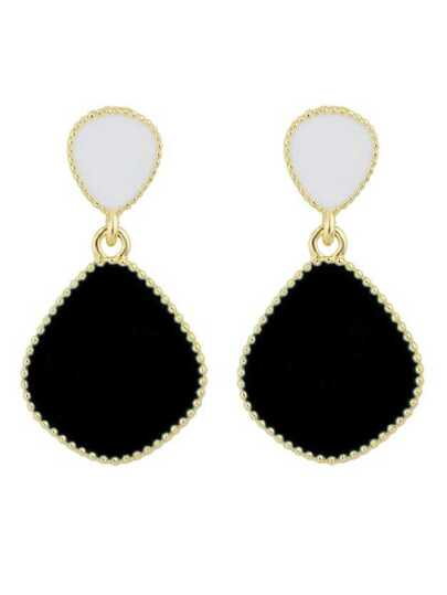 Black Bohemian Ethic Style Brincos Enamel Earrings