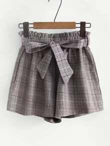 Frill Waist Plaid Shorts With Belt