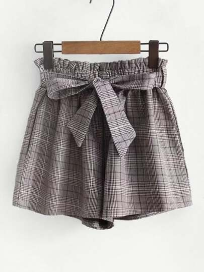 Frill Waist Plaid Shorts With Belt