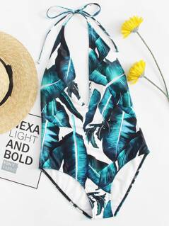 Tropical V-plunge Halter One Piece Swimsuit