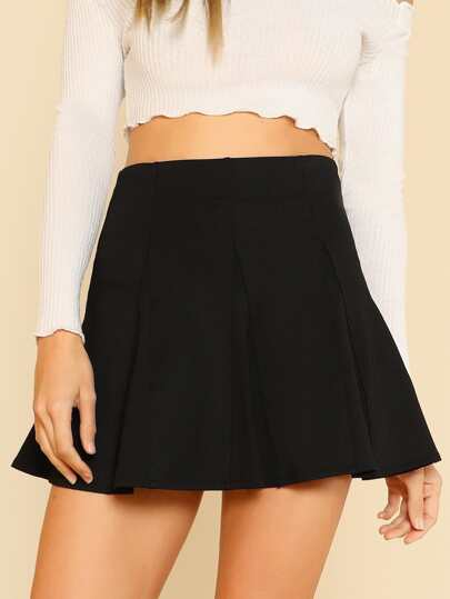 A-line Paneled Flare Skirt BLACK