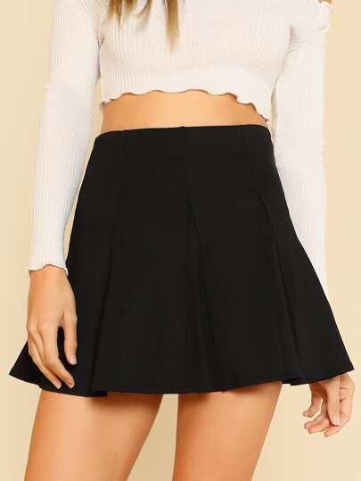 A-line Paneled Flare Skirt BLACK