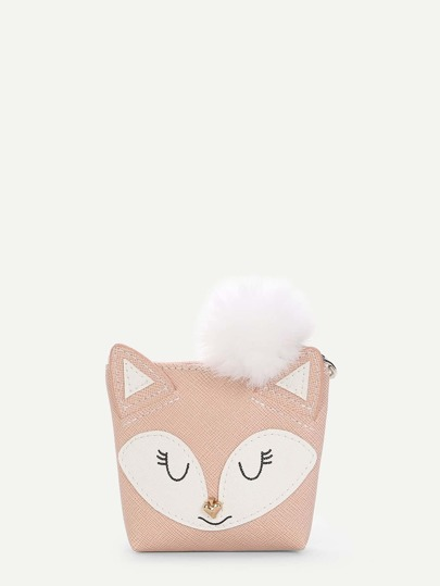 Pom Pom Decor Fox Wallet
