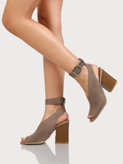 Faux Suede Peep Toe V Cut Chunky Heel TAUPE