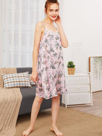 Lace Insert Floral Cami Night Dress