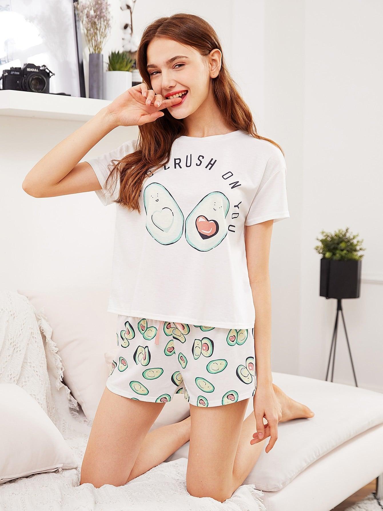 Avocado Print Top And Bow Front Shorts Pajama Set