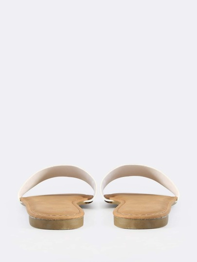 Faux Leather Slip On Sandals WHITE