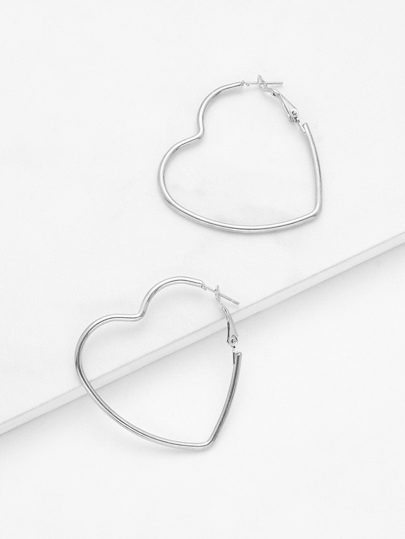 Open Heart Design Drop Earrings