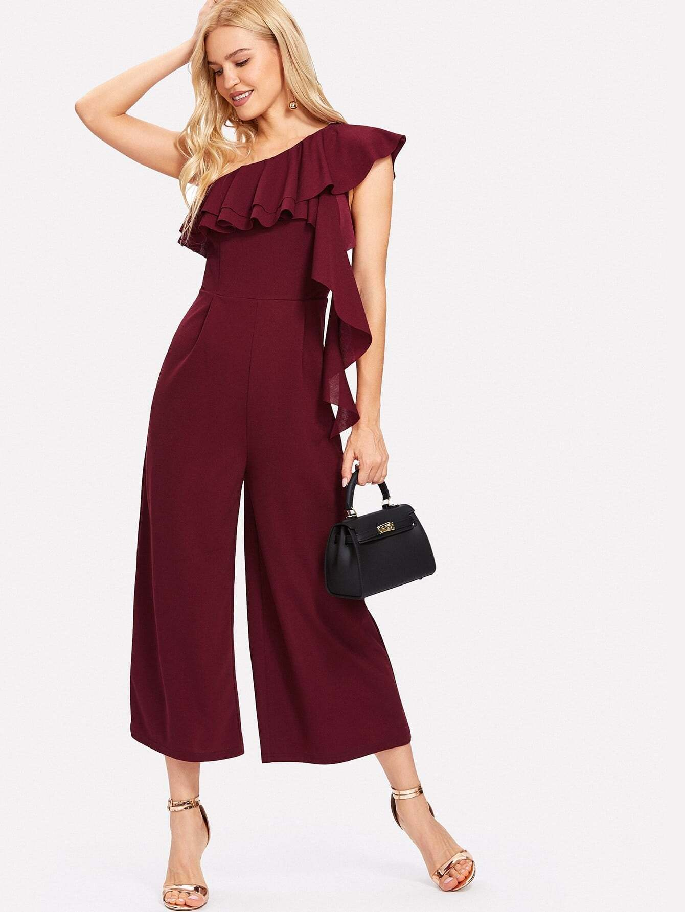Flounce One Shoulder Tiered Jumpsuits