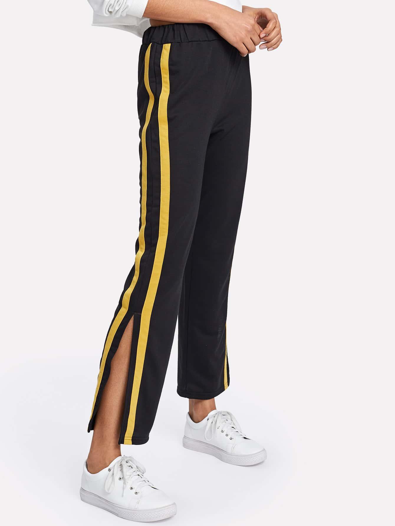 Striped Tape Split Side Pants striped tape side cuffed pants