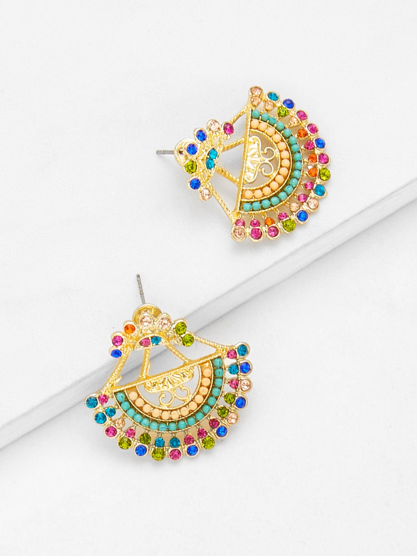 Semicircle Shaped Drop Earrings With Rhinestone hollow water drop shaped drop earrings