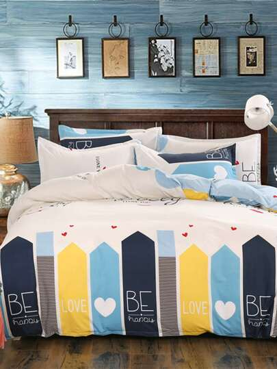 1.8m Slogan Print Duvet Cover Set