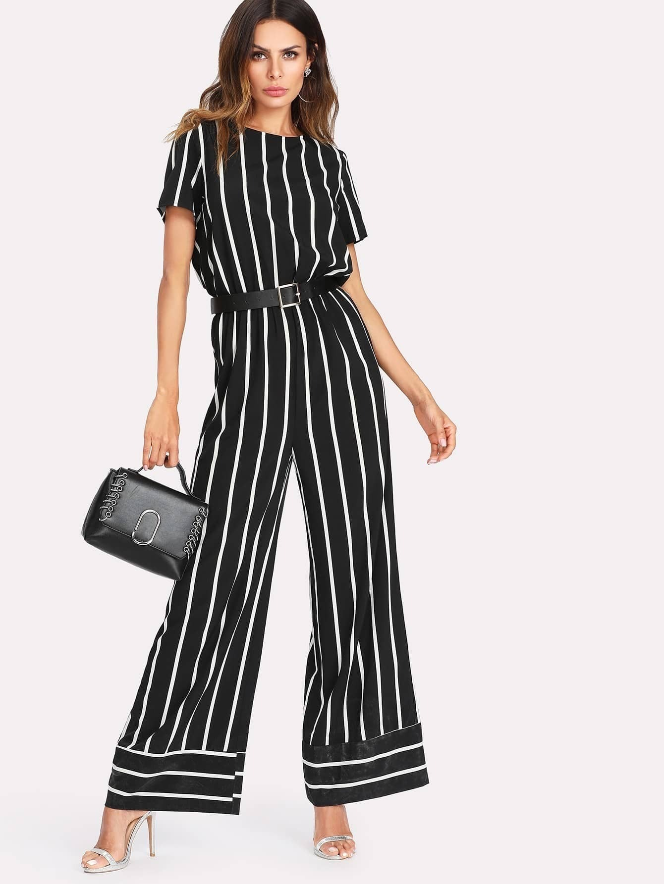 Wide Leg Mixed Striped Jumpsuit shirred panel wide leg striped jumpsuit
