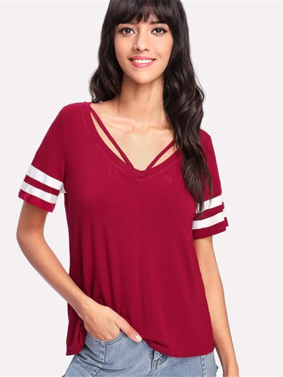 V Strap Neck Striped Sleeve T-shirt