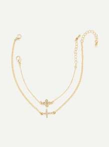 Rhinestone Detail Cross Design Link Bracelet Set