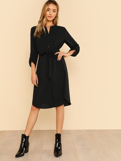 Roll Tab Sleeve Shirt Dress