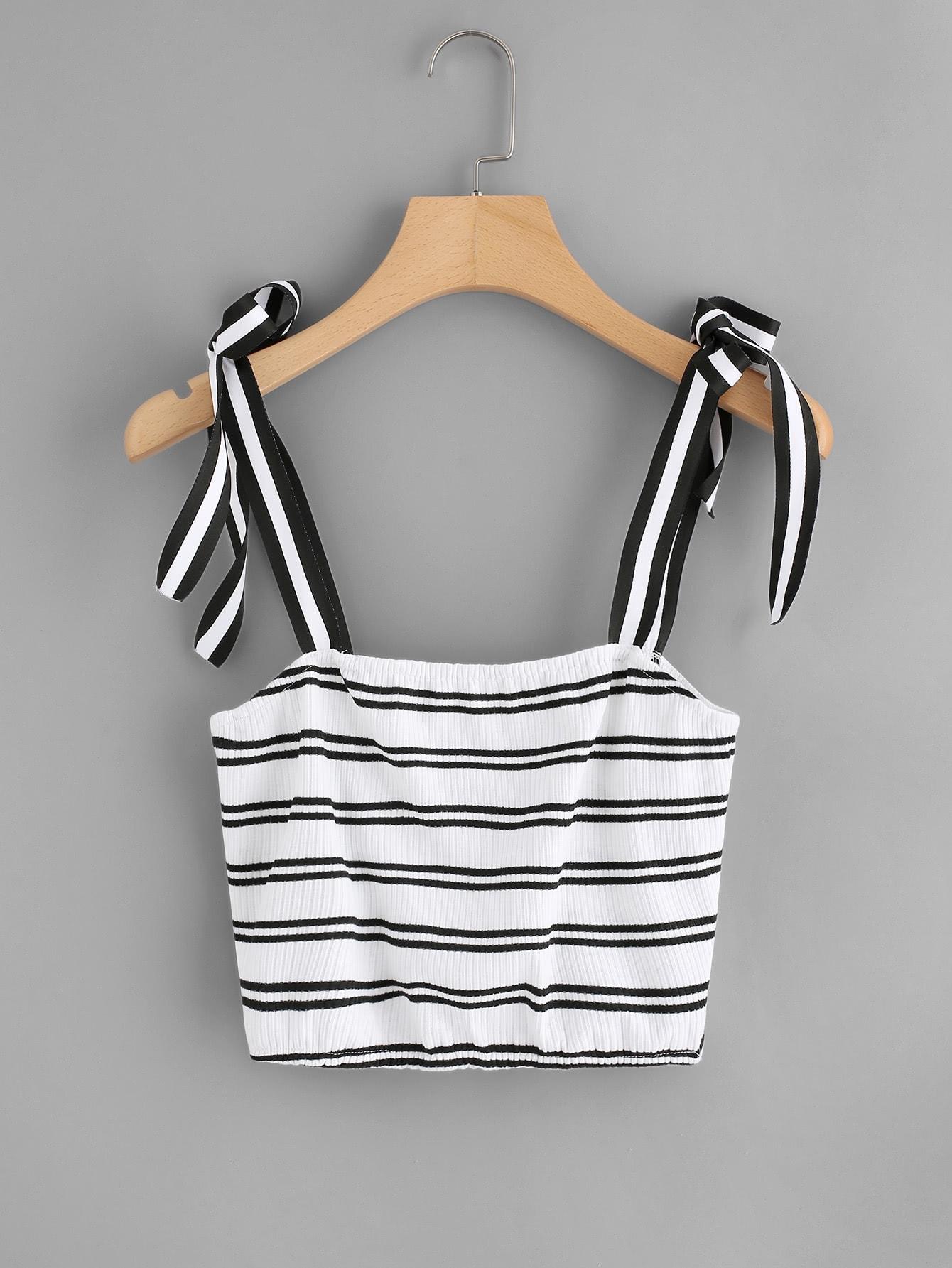 Tie Strap Crop Ribbed Top vest180105103