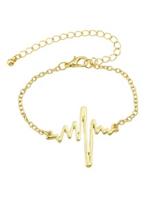 Gold Chain With Heartbeat Charm Bracelet