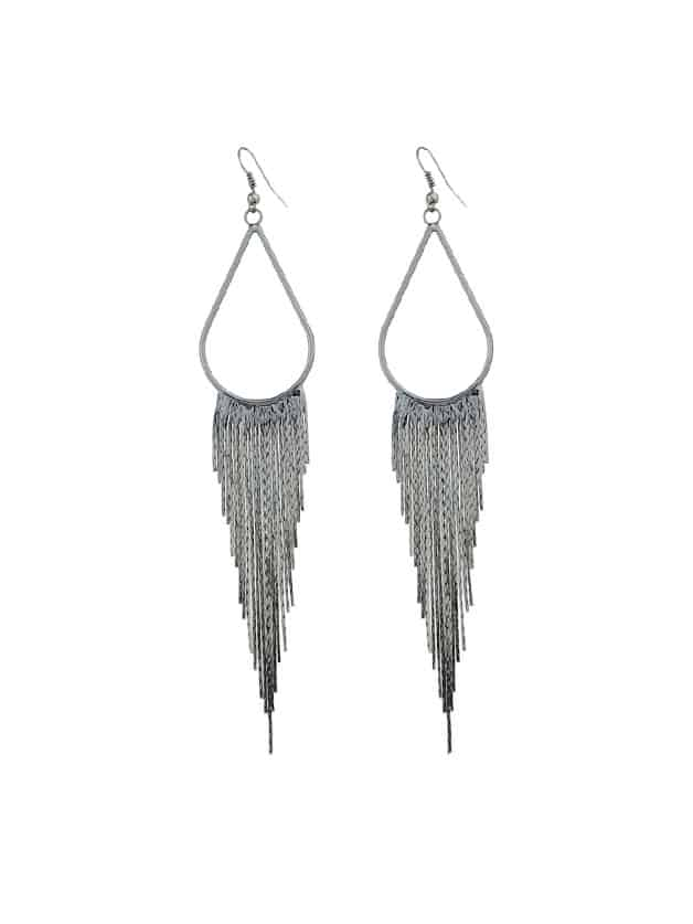 Gunblack Statement Metal Tassel Long Earrings