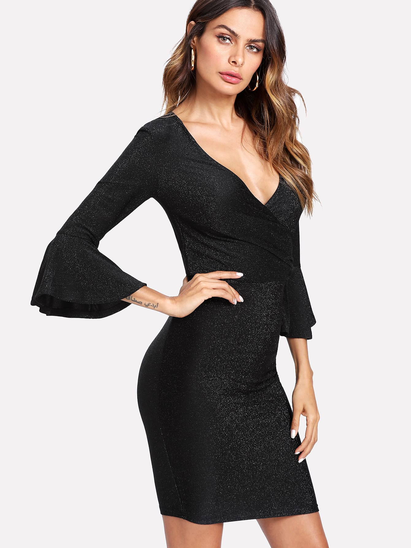 Trumpet Sleeve Ruched Wrap Dress trumpet sleeve glitter wrap dress