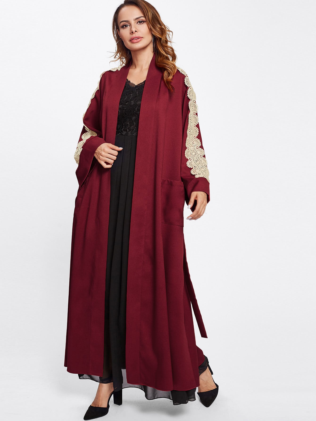 Pocket Front Contrast Lace Applique Wrap Abaya