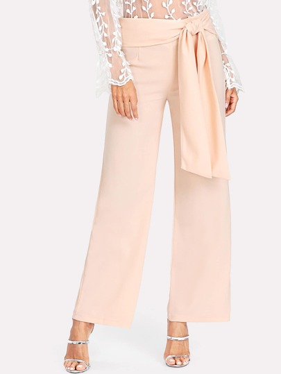 Self Belted Wide Leg Pants