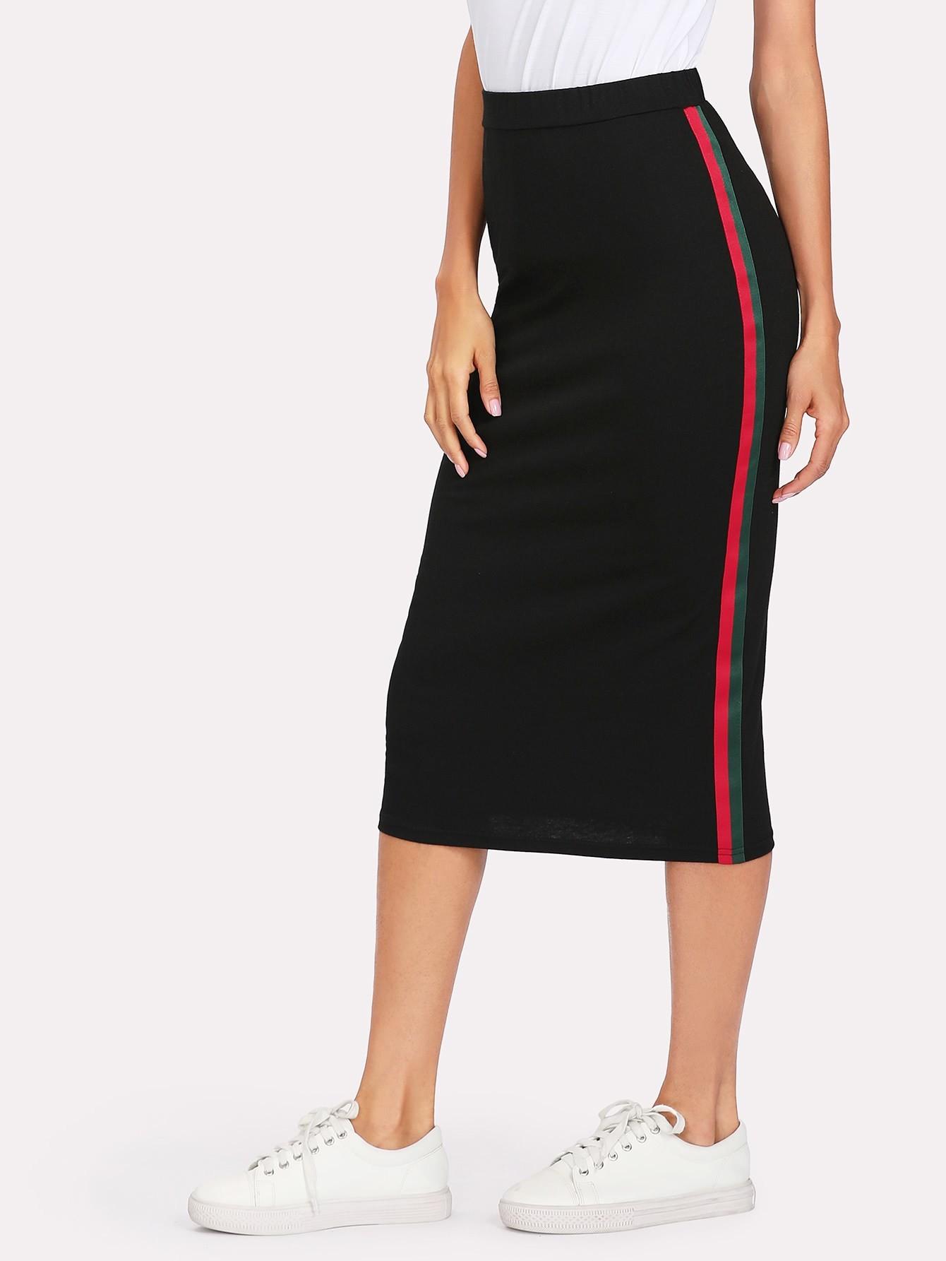 Striped Tape Side Skirt striped tape side cuffed pants