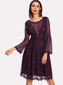 V Back Lace Dress