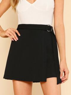 O-Ring Belt Detail Overlap Skirt