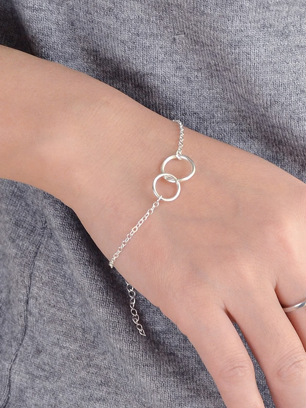 Silver Simple Two Circle Bracelets