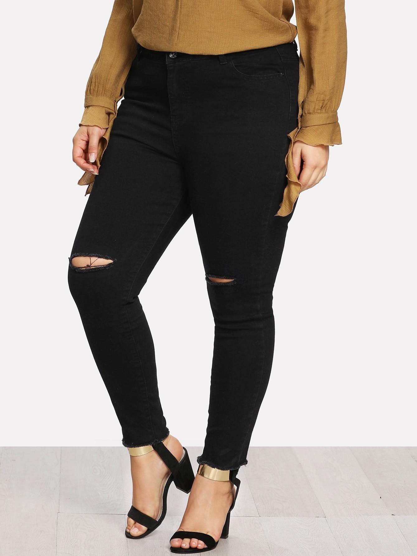 Plus Raw Hem Knee Ripped Jeans
