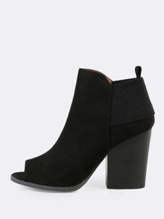 Elastic Peep Toe Chunky Boots BLACK
