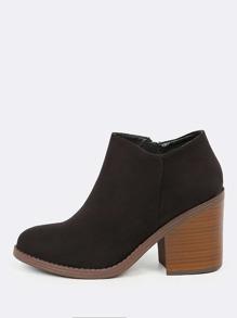 Chunky Heel Side Slit Ankle Boots BLACK