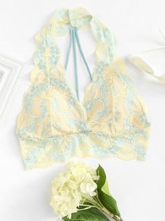 Strappy Back Floral Lace Bralette