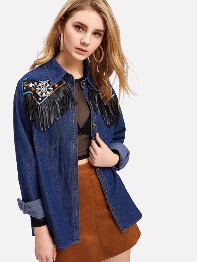 Embroidered Fringe Detail Denim Jacket