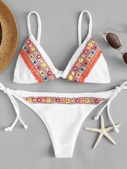 Embroidered Tie Side Bikini Set