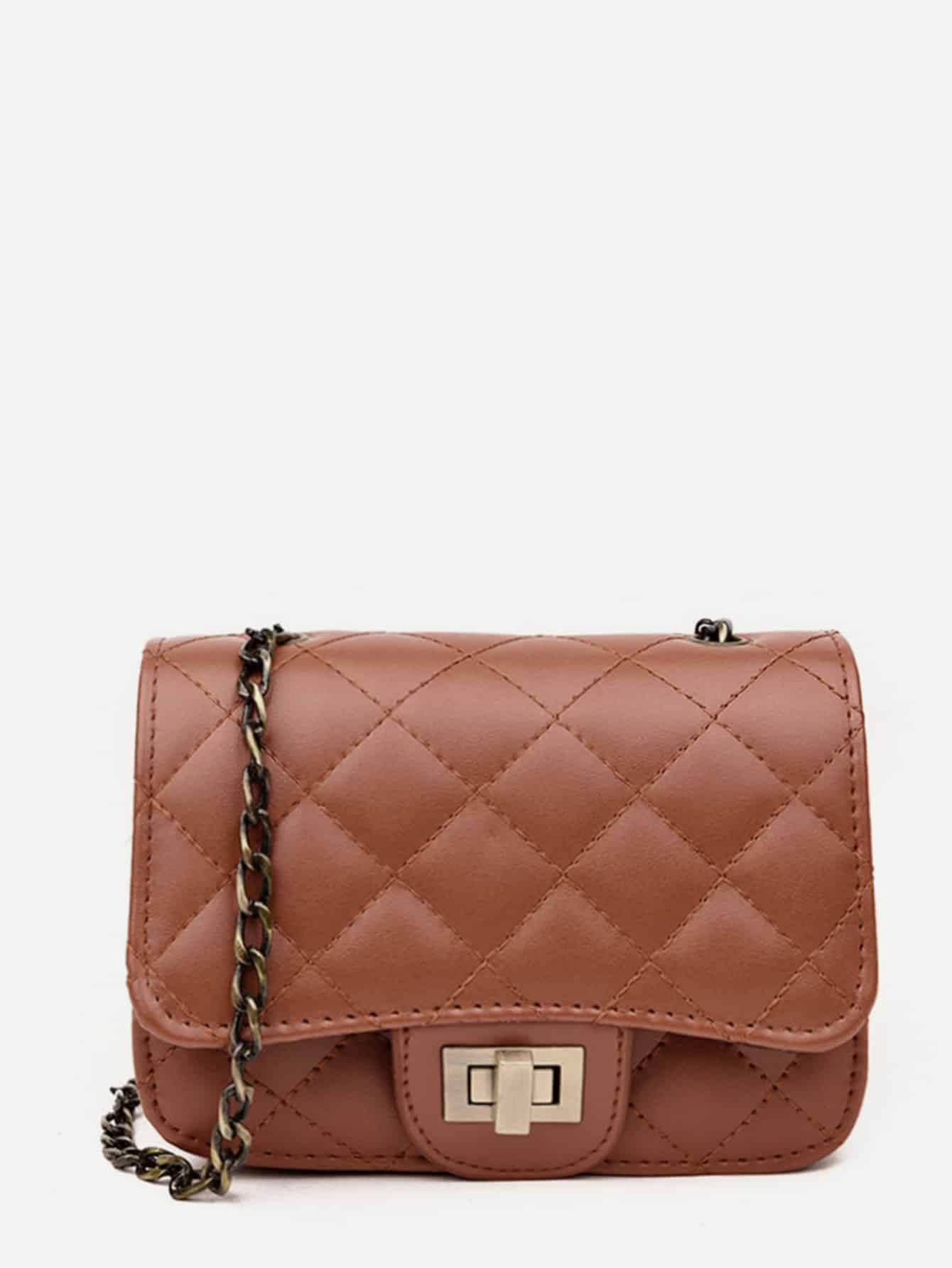 Twist Lock Quilted Chain Flap Bag