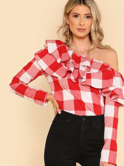 Flounce Layered Neckline Plaid Top