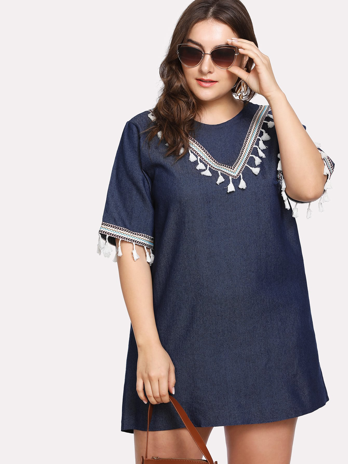 Plus Embroidered Tape Tassel Detail Denim Dress