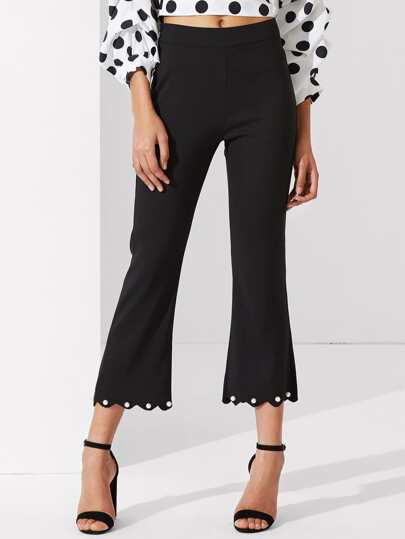 Pearl Beading Scallop Hem Flared Pants