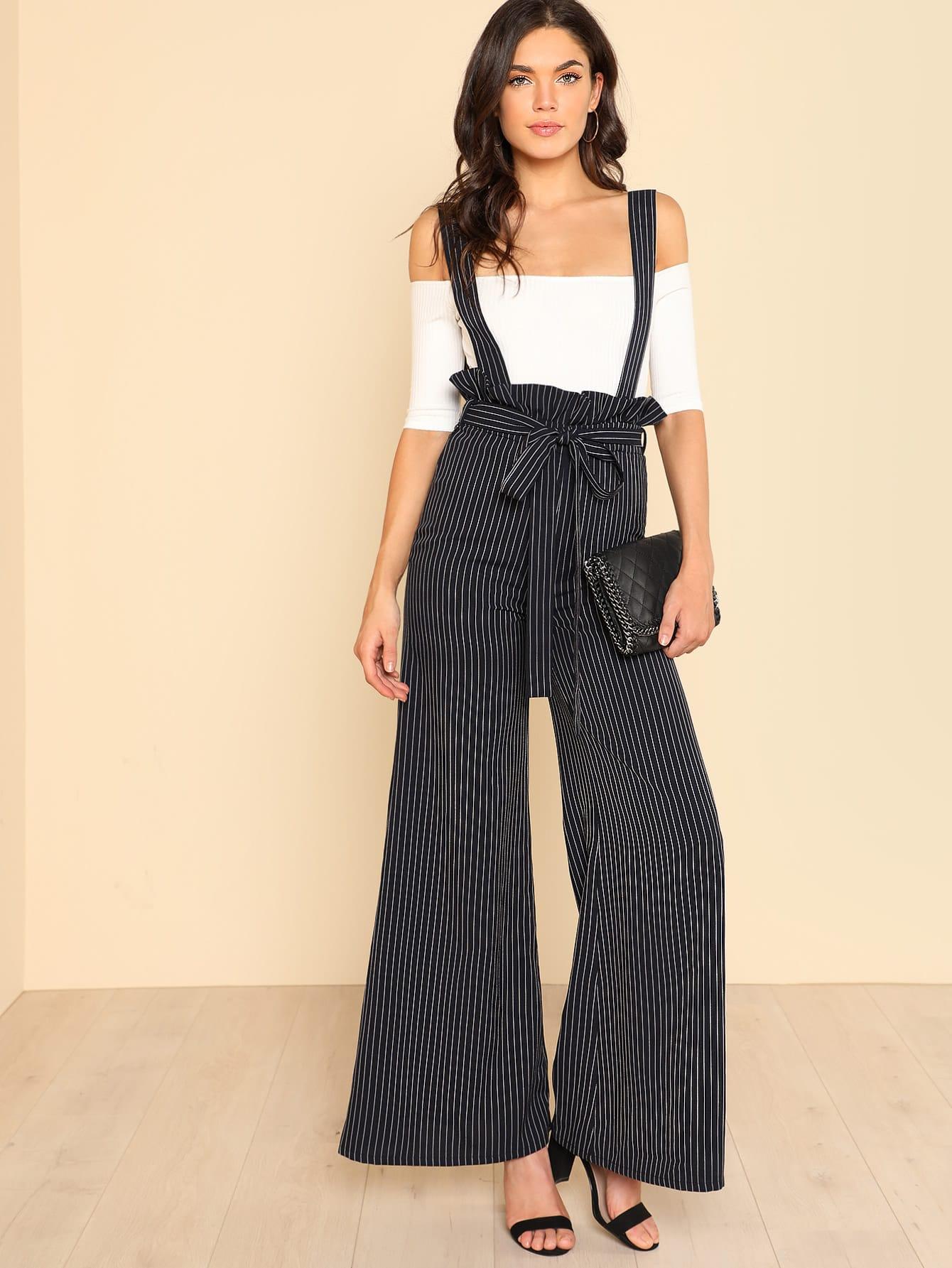 Модные брюки в полоску с поясом и лямкой, Aarika Wolf, SheIn  - купить со скидкой