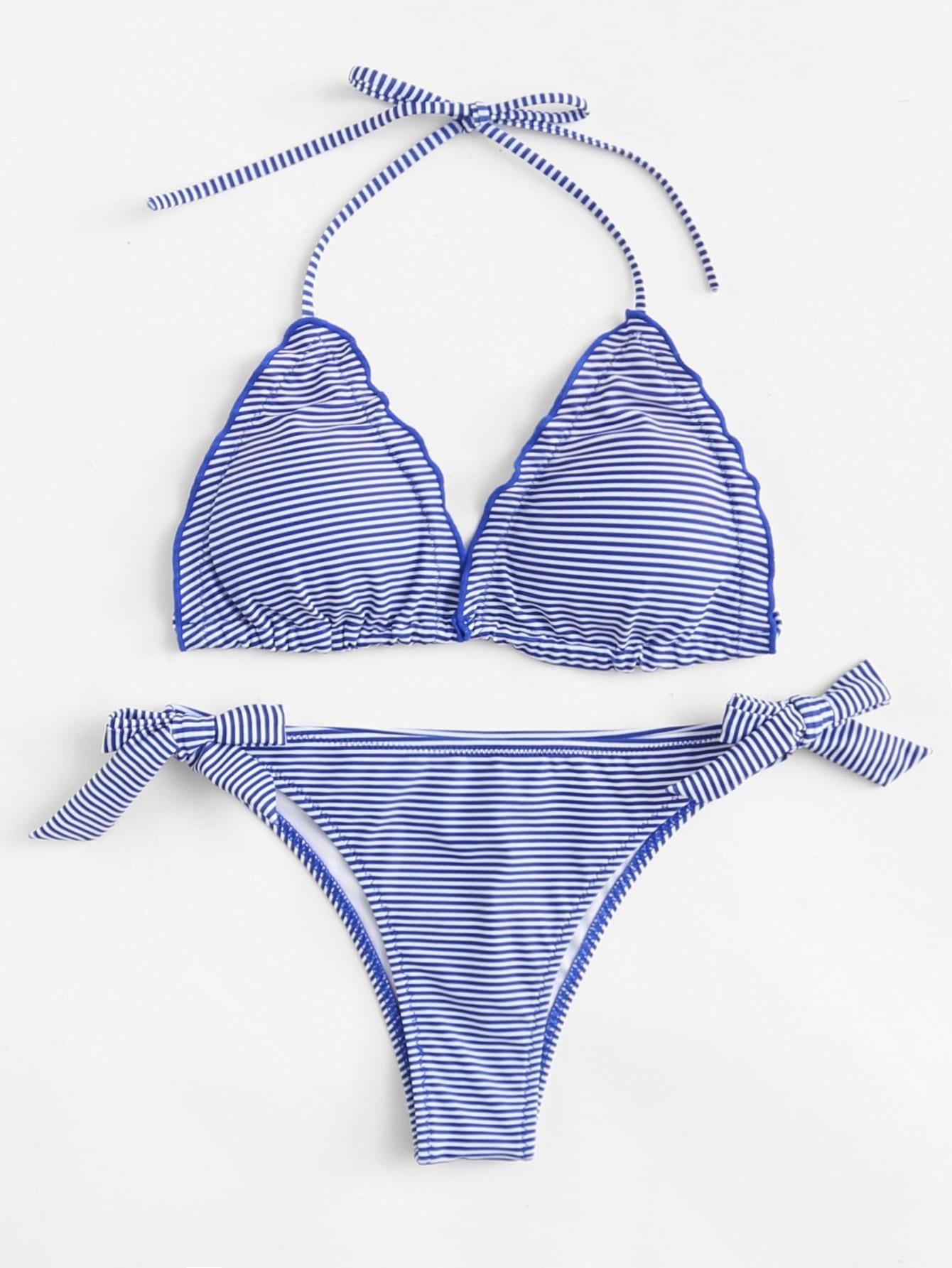 Фото Striped Self Tie Bikini Set checker knot bikini set