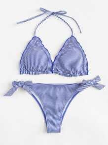 Striped Self Tie Bikini Set