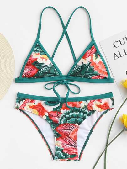 Tropical Print Tie Back Bikini Set
