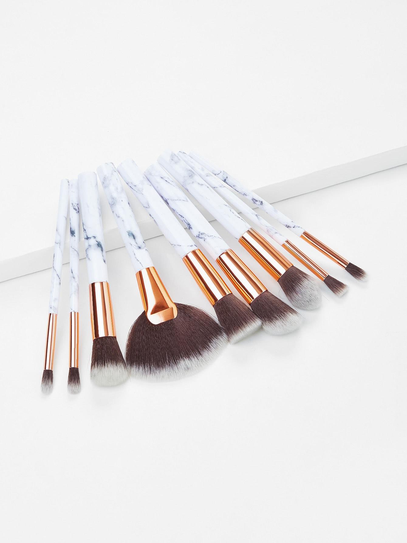 Marble Pattern Handle Brush Set 9pcs