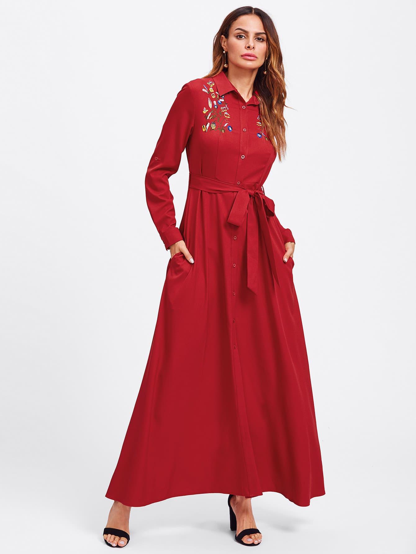 Embroidered Yoke Roll Sleeve Belted Shirt Dress pu belted tartan shirt