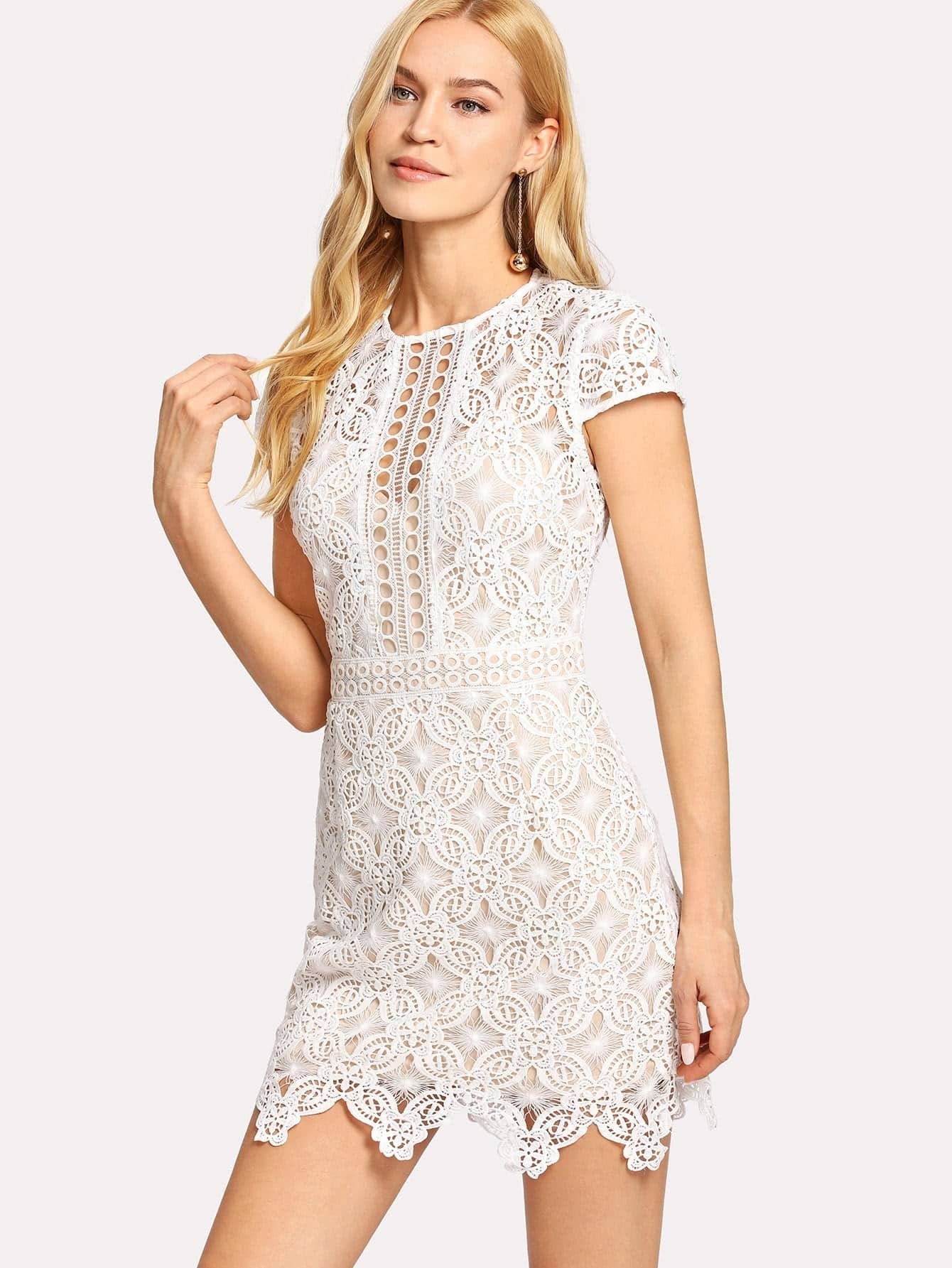 Guipure Lace Form Fitting Dress guipure lace form fitting dress