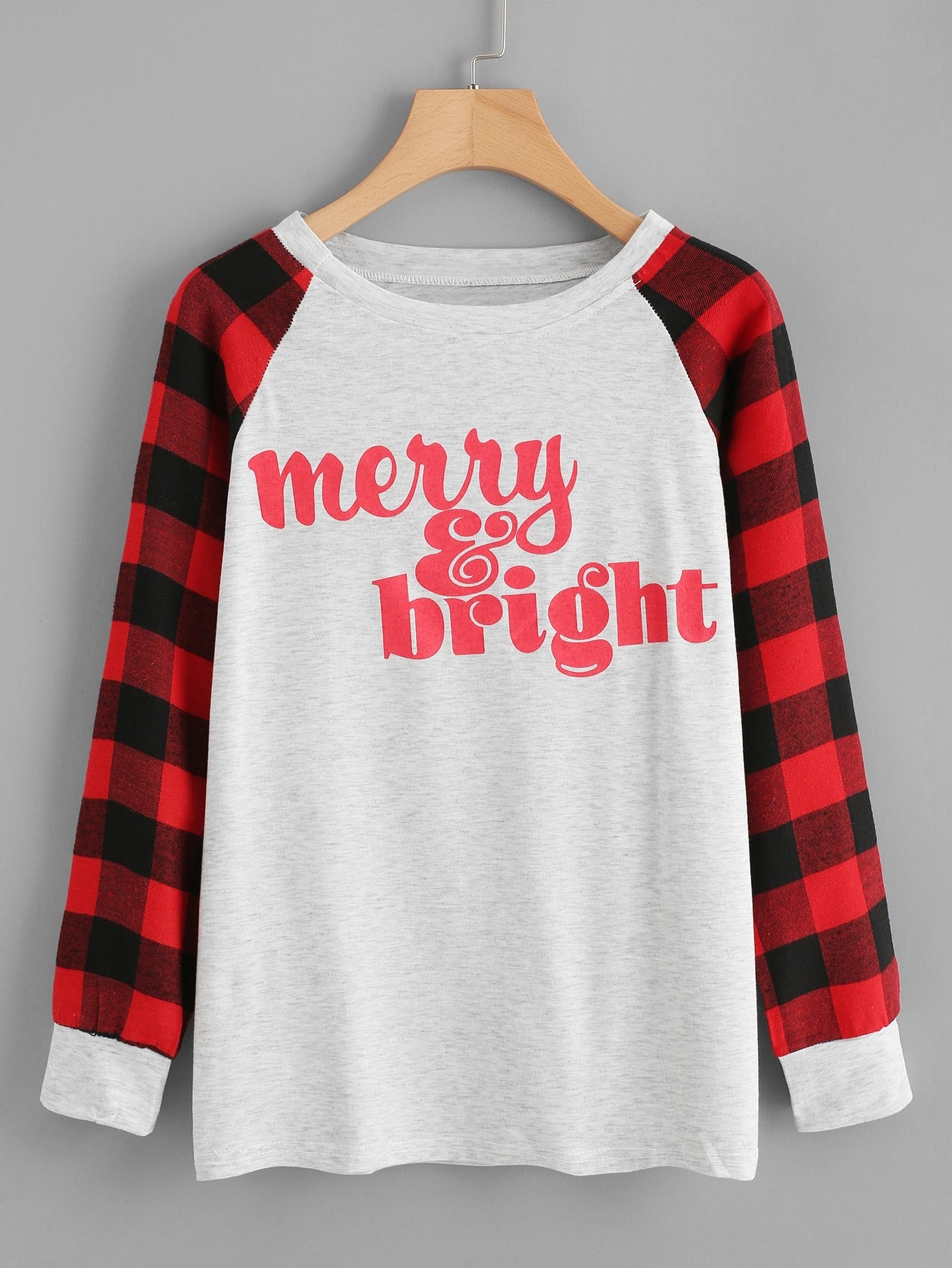 Contrast Check Plaid Raglan Sleeve Letter Print Tee contrast check plaid embroidered appliques sweatshirt page 9