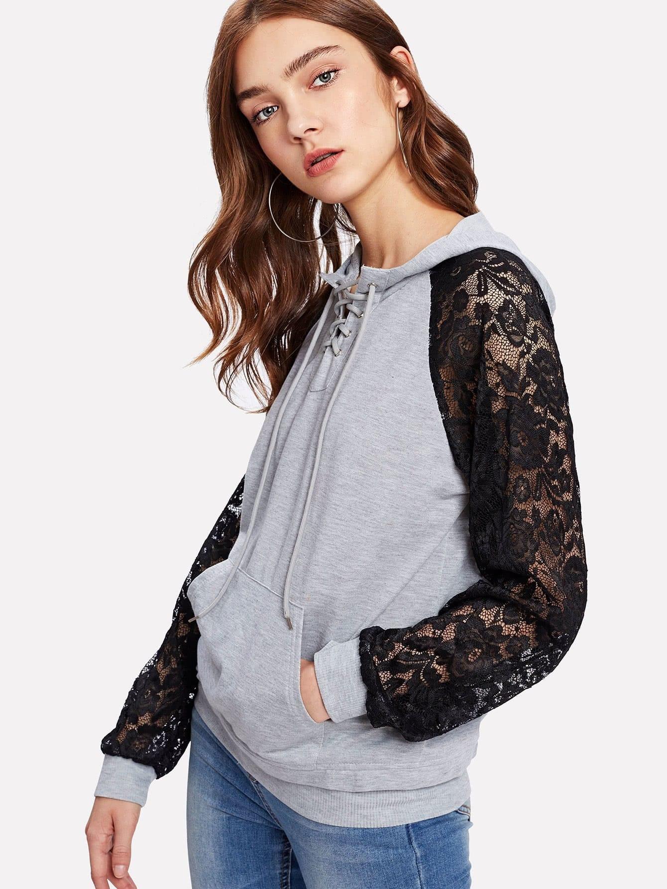 Contrast Lace Raglan Sleeve Lace Up Hoodie